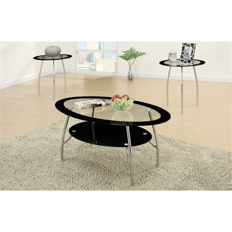 Chmura Oval Edge Glass Top 3 Piece Coffee Table Set