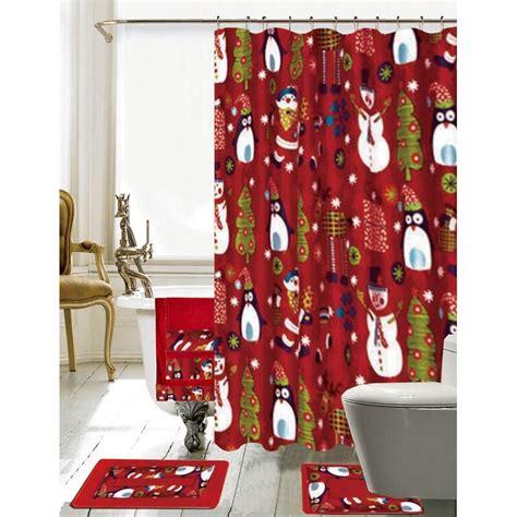 Christmas Bathroom Decor 18 Piece Red/Green Shower Curtain Set
