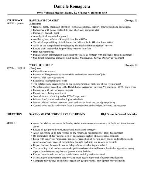 drywall repair resume handyman resume sample coverlettersandresume handyman resume - Handyman Resume Samples