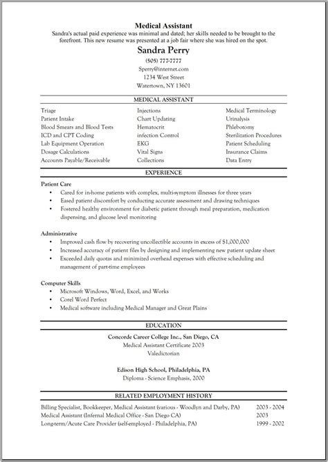Chronological Resume For Medical Assistant Medical Assistant Resume