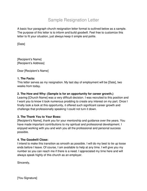 letter of resignation from church