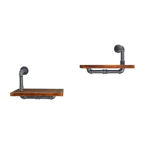 Cioffi Industrial Floating Pipe 2 Piece Wall Shelf Set