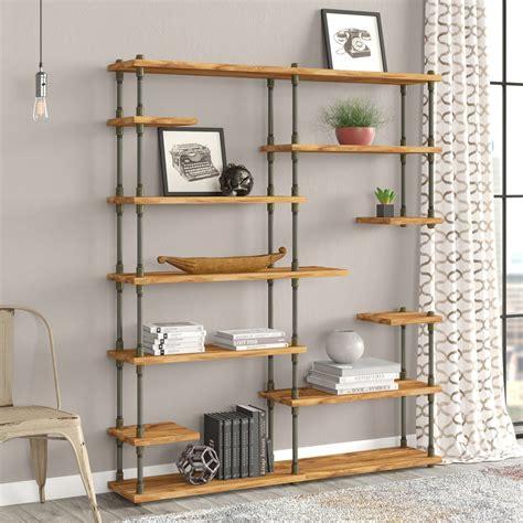 Cirillo Industrial Mid-Century Etagere Bookcase