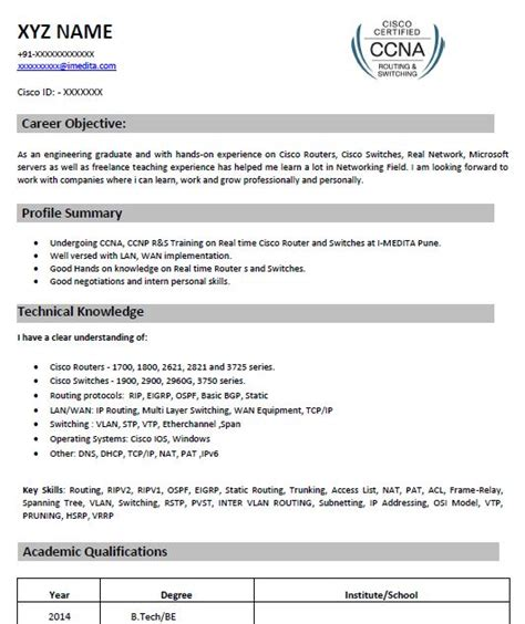 ccna fresher resume format free download professional resume