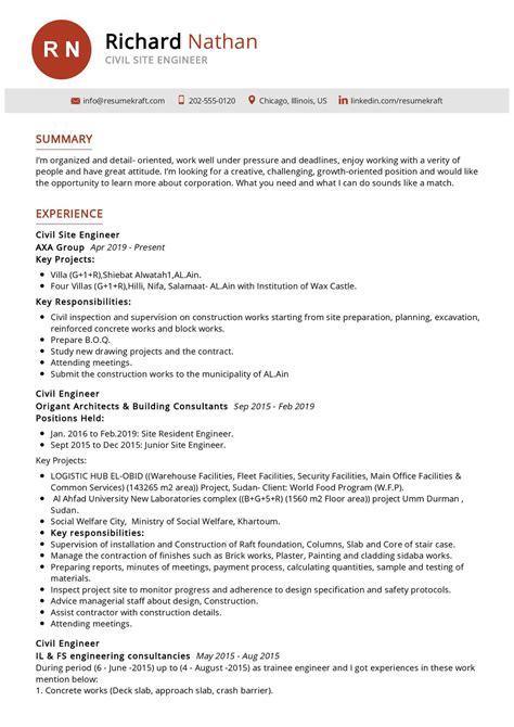 resume sample for civil site engineer civil site engineer resume example best sample resume - Civil Site Engineer Sample Resume