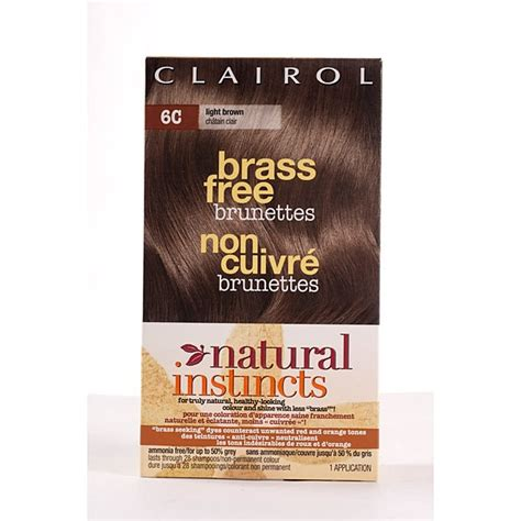 Brass Clairol Natural Instincts Brass Free Hair Color 6c Light Brown.