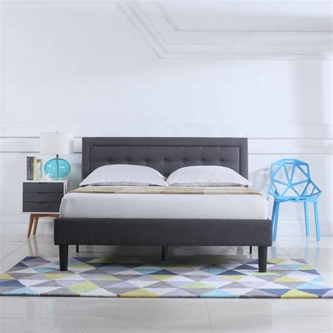 Classic Deluxe Linen Low Profile Platform Bed Frame with Tufted Headboard Design byMadison Home USA