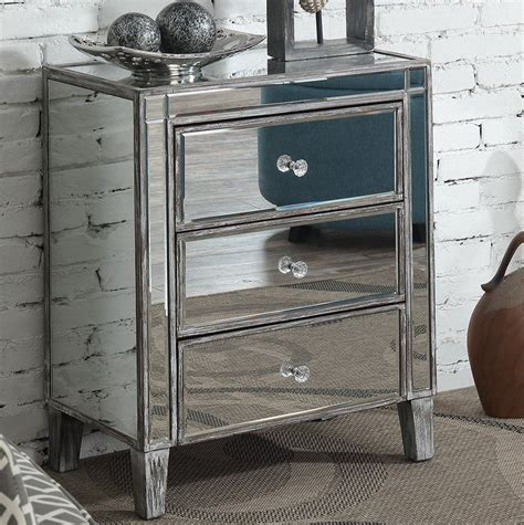 Claybrooks 3 Drawer Mirrored End Table with Storage