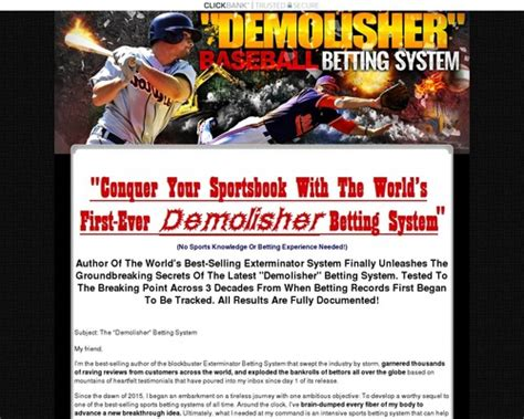 @ Clickbank259 Tony Chau S Demolisher Mlb Baseball Sports Betting System.
