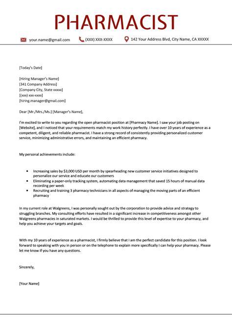 Clinical Pharmacist Cover Letter Sample Hospital Pharmacist Cover Letter Jobhero