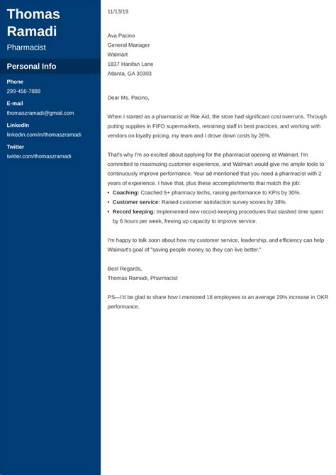 clinical pharmacist cover letter examples marketing cover letter example sample