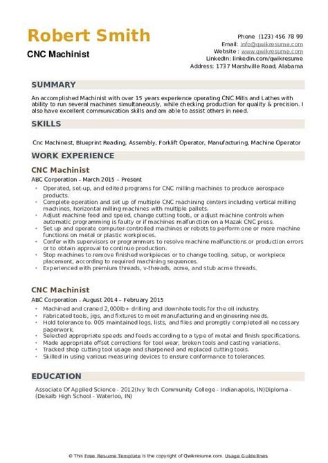 example of a machinist resume cnc machinist resume samples jobhero