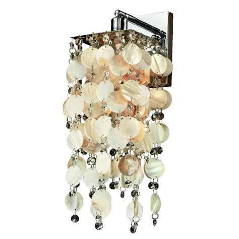 Cohen-Arazi Oyster Shell and Crystal 1-Light Armed Sconce