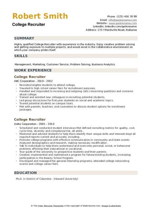 sales recruiter resume