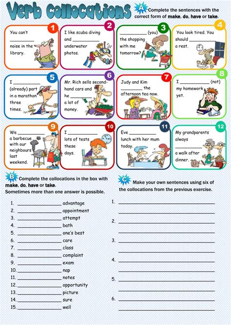 collocations exercises in english pdf