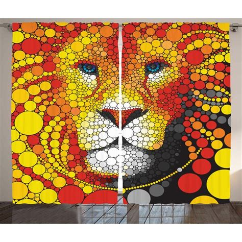 Colten Fractal Abstract Style Lion Portrait Doodle Style Circle Figure Wildlife Leader Image Graphic Print & Text Semi-Sheer Rod Pocket Curtain Panels (Set of 2 by