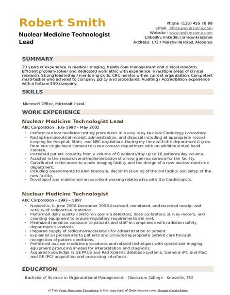 sample resume entry level radiologic technologist combination resume example nuclear medicine technologist - Sample Resume For Radiologic Technologist