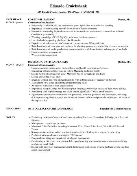 Communications Specialist Resume Amazing Resume Creator