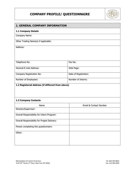 Company Profile Sample Wording 32 Sample Questionnaire Templates In Microsoft Word