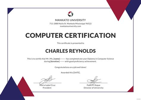 Computer certificate template security best resume guidelines computer certificate template security training certificate template 14 free word pdf psd yadclub Gallery
