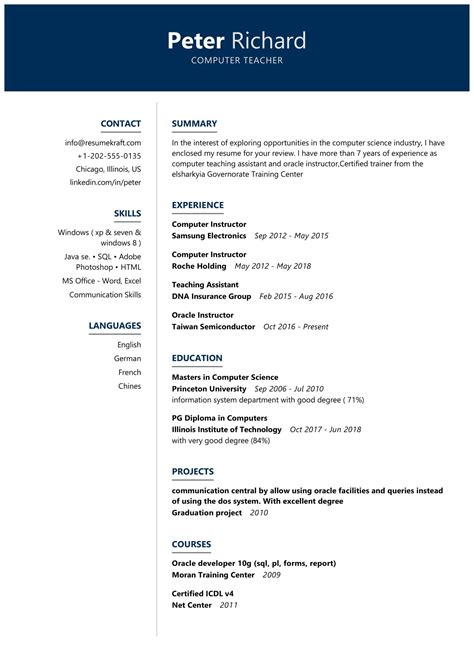 resume resume sample for computer teacher in india how to write a resume without much experience - Computer Science Resume Canada