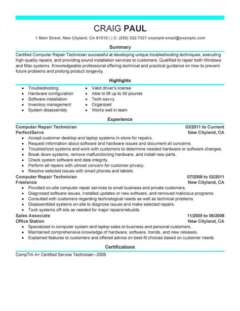 computer technician resume objective computer technician resume objective examples - Pc Technician Resume Sample