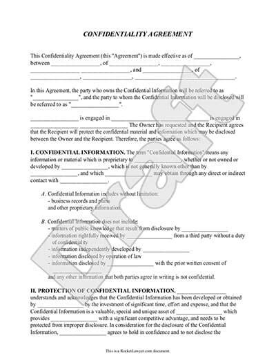 Confidentiality Between Lawyer And Client Confidentiality Agreement Form With Sample Rocket Lawyer