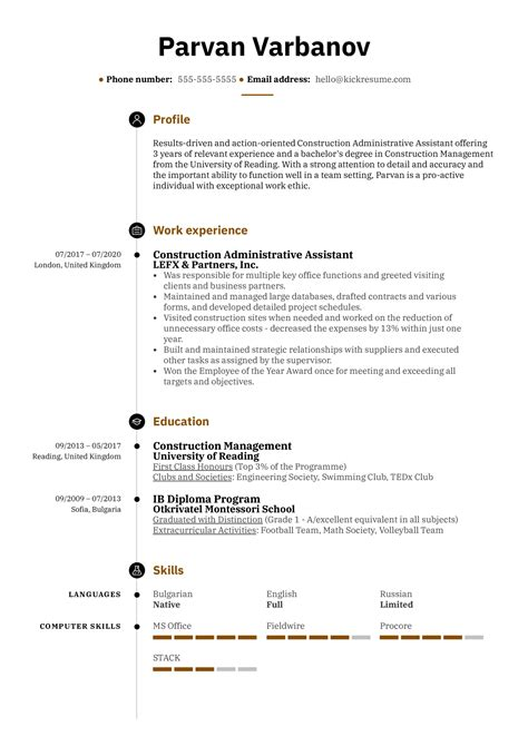 construction administrative assistant resume administrative