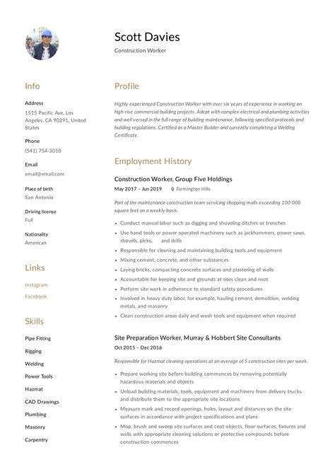 sample resume construction superintendent resume exles near san - Sample Resume Construction Worker