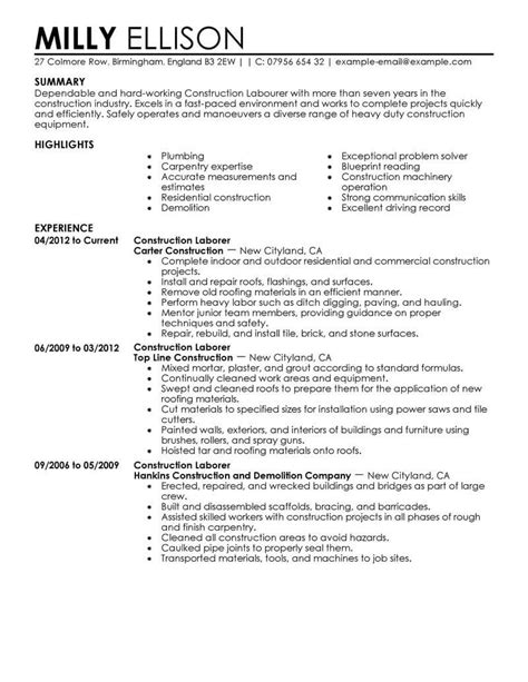 free sample resume construction worker construction worker skills best sample resume