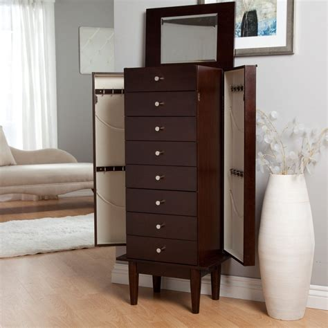 contemporary jewelry armoire black