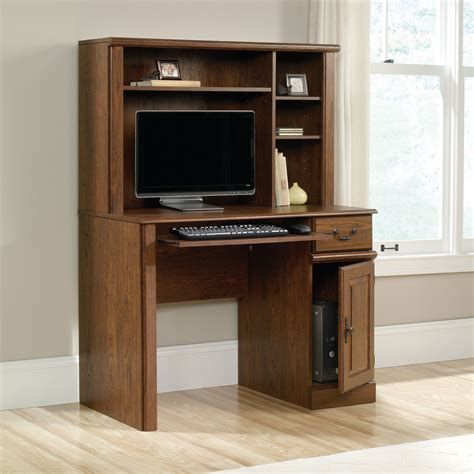 contemporary wood computer desk with hutch