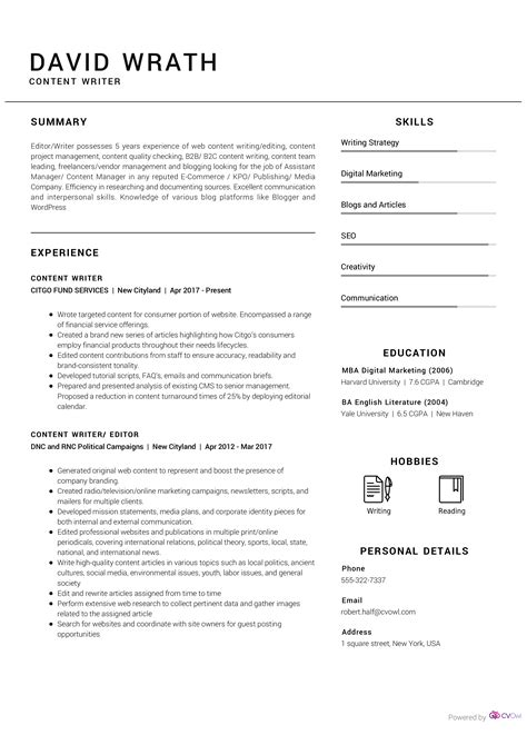 Seo content writer resume Novel Writer Resume Format