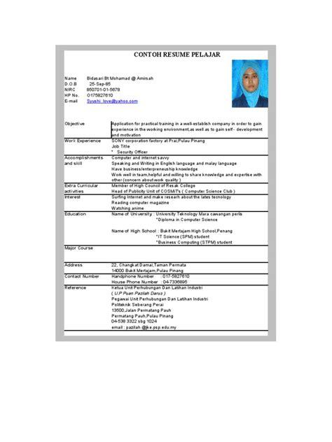contoh resume english lepasan spm resume samples for maths