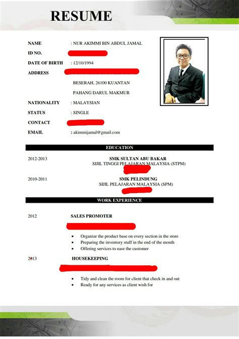 contoh resume student utp sample resume for nurses with 1 year
