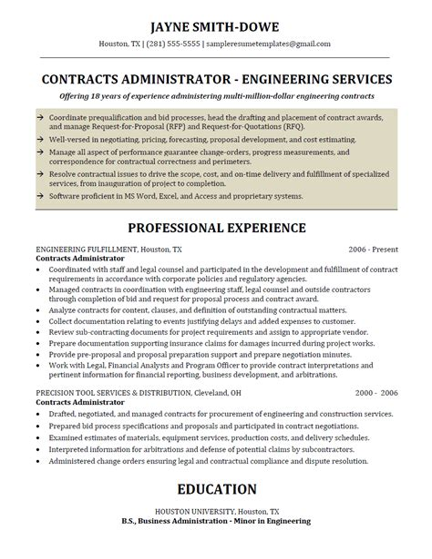 contract administrator resume loan administrator resume resume