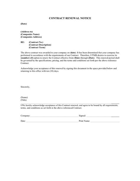 contract renewal letter to vendor letter contract renewal tips usa