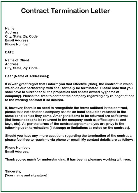 contract termination letter for vendor contract termination letter buzzle
