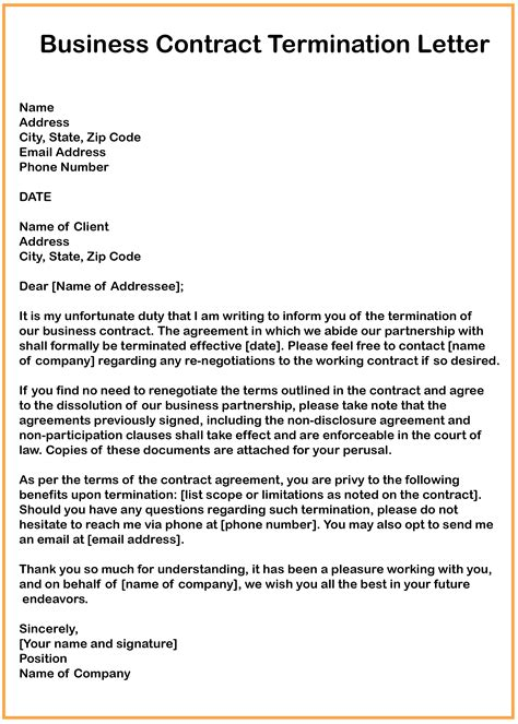 contract termination letter for vendor contract termination sample letter notice of