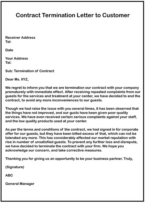 contract termination letter for vendor how to write service termination letter sample example