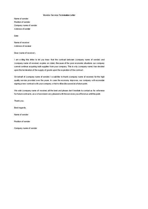 contract termination letter for vendor vendor termination letter sample format