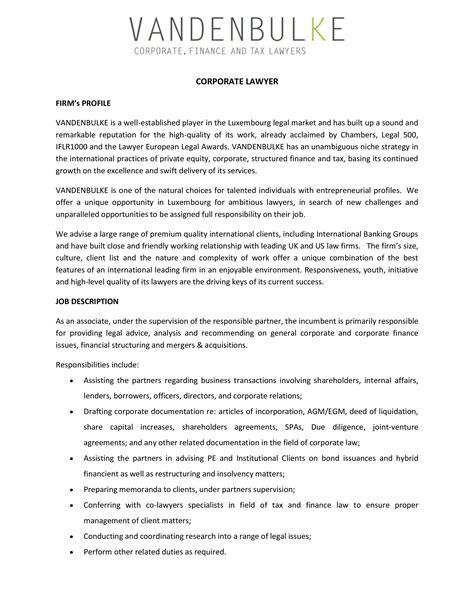Corporate Lawyer Job Description Corporate Attorney Job Description Template Hiring