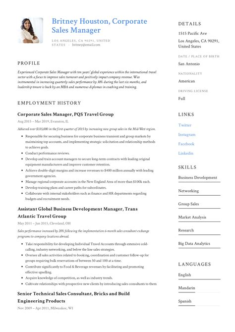 corporate sales manager resume sample sales manager resume example - Sales Manager Resume Samples