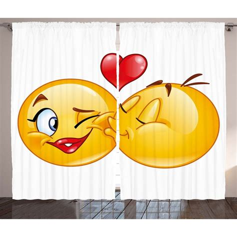 Corrina Emoji Graphic Print and Text Semi-Sheer Rod Pocket Curtain Panels (Set of 2 by