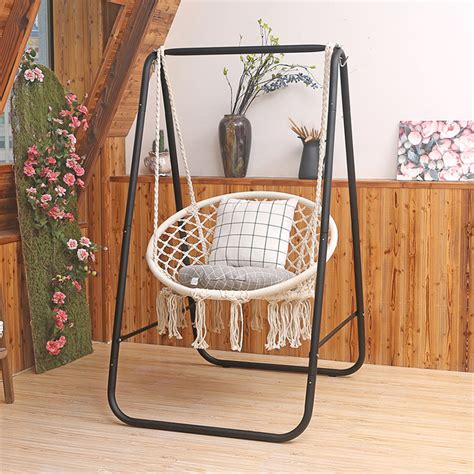 Cotton Chair Hammock with Stand