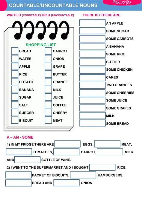 countable and uncountable noun worksheets pdf