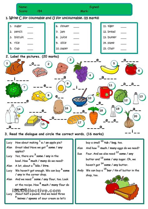 countable and uncountable nouns food exercises pdf