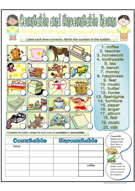 countable and uncountable nouns online worksheets
