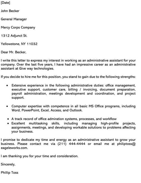Cover Letter Administrative Manager Administrative And Clerical Cover Letter Samples