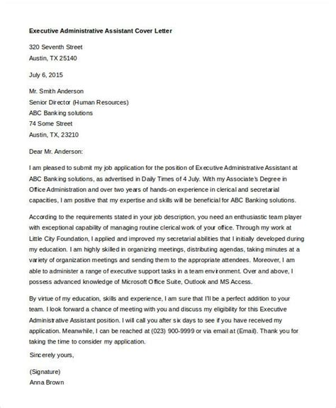 Cover Letter Template Executive Assistant Administrative Assistant Executive Assistant Cover